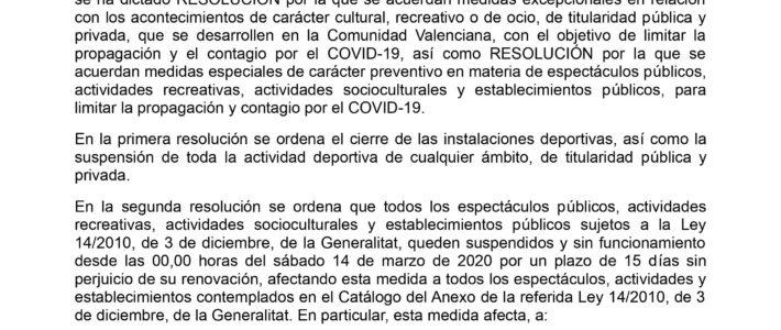 MEDIDAS A ADOPTAR EN LOS PUERTOS DE LA GENERALITAT VALENCIANA COMO CONSECUENCIA DEL BROTE DEL CORONAVIRUS COVID-19