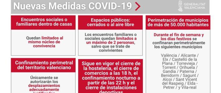 Nuevas restricciones por COVID 19  a partir del 25 de Enero de 2021, — Prorroga hasta el 1 de Marzo de 2021